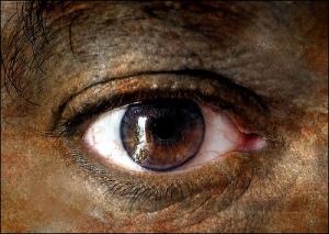 Dark red eye