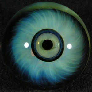blue glass eye