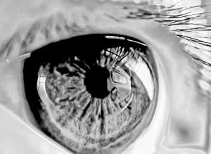 big black and white reflective eye