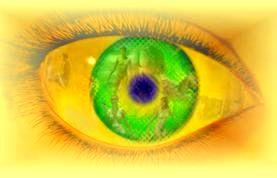 green and yellow eye logo # 46